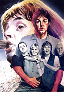 Rock Stars Paintings - Paul McCartney and Wings by Ken Meyer jr