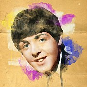 Parchment Drawings Prints - Paul Mccartney Tribute Print by Megan Johnson