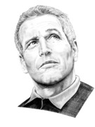 Paul Drawings Metal Prints - Paul Newman  Metal Print by Murphy Elliott