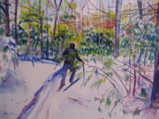Cross-country Skiing Paintings - Paul Skiing in Anthony Wayne by Joyce Kanyuk