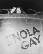 World War Ii Bomber Framed Prints - Paul Tibbets In The Enola Gay Framed Print by War Is Hell Store