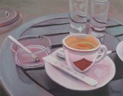 Ashtray Paintings - Pause Cafe by Lisa Lea Bemish