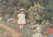 White Dress Painting Prints - Pause for Reflection Print by Helen Allingham