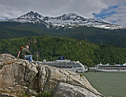 Conversing Photo Prints - Pause in Wonder at Cruise Ships in Alaska Print by John Haldane