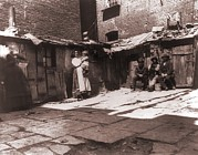 Tenements Prints - Paved Yard Lines With Outdoor Latrines Print by Everett