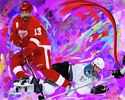 Hockey Painting Metal Prints - Pavel Datsyuk Metal Print by Donald Pavlica