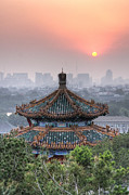 China Pavilion Posters - Pavilion At Sunset In Jingshan Park Poster by Robert Nagy Photography