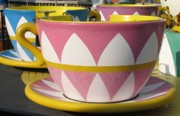 Amusement Ride Prints - Pavilion Tea Cups Print by Kelly Mezzapelle