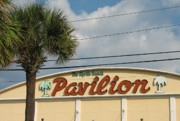 Myrtle Green Prints - Pavilion with Palm Print by Kelly Mezzapelle