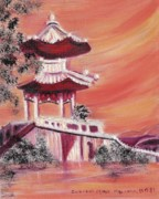 Leclairart Framed Prints - Pavillion in China Framed Print by Suzanne  Marie Leclair