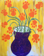 Paws Painting Originals - Paw Flowers by Ashley Galloway