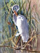 Great Birds Mixed Media Posters - Pawleys Heron Poster by Barbara Jung