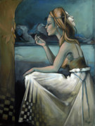 Chess Paintings - Pawn for the Prince of Darkness by Jacque Hudson-Roate