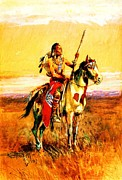 Great Plains Painting Posters - Pawnee Scout Poster by Pg Reproductions