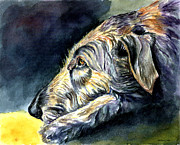 Wolfhound Framed Prints - Paws to Reflect Irish Wolfhound Framed Print by Lyn Cook