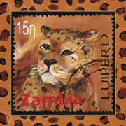African Prints Paintings - Pawsing On The Spot by Debbie McCulley