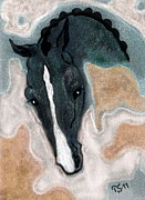 Horse Drawing Mixed Media Prints - Payano the Stallion Print by Tarja Stegars