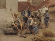 Paying The Harvesters Print by Leon Augustin Lhermitte