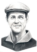 Golf Drawings Metal Prints - Payne Stewart-Murphy Elliott Metal Print by Murphy Elliott