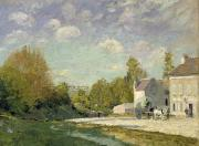 Country Cottage Framed Prints - Paysage Framed Print by Alfred Sisley