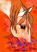 Horse Drawings Prints - Peace 2 Print by Tarja Stegars