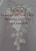 Sherry Hallemeier Posters - Peace and Goodwill Poster by Sherry Hallemeier
