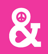 Minimalist Digital Art - Peace and Love pink edition by Budi Satria Kwan