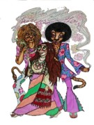 60s Drawings - Peace and Love by Rae Chichilnitsky