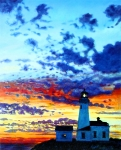 Lighthouse Sunset Posters - Peace at the Lighthouse Poster by John Lautermilch