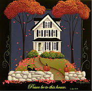 Autumn Folk Art Paintings - Peace be to this house by Catherine Holman