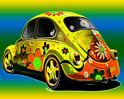 Vw Bug Prints - Peace Print by Cheryl Young