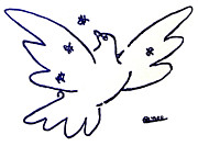 Pablo Picasso Painting Prints - Peace Dove Serigraph in Blue as a tribute to Pablo Picassos Lithograph of Love Bird with Flowers Print by M Zimmerman