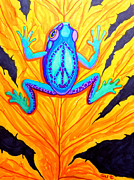 Frog Drawings - Peace Frog on Fall Leaf by Nick Gustafson