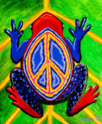 Whimsical Frogs Posters - Peace Frog Too Poster by Nick Gustafson