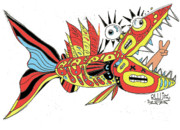 Outsider Digital Art Prints - Peace Funky Folk Fish Print by Robert Wolverton Jr