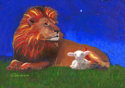 Lion Lamb Posters - Peace Poster by Gwen Ontiveros