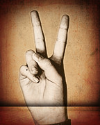 Sign Language Prints - Peace Hand Print by Suzanne Barber
