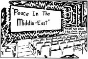 Middle East Mixed Media Originals - Peace in the Middle-East rerun maze cartoon by Yonatan Frimer Maze Artist