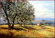 Italian Landscapes Paintings - Peace in Tuscany by Landi