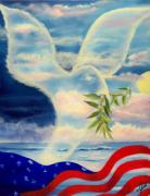 Star Spangled Banner Painting Metal Prints - Peace Metal Print by Joni McPherson