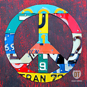 Metal Mixed Media Prints - Peace License Plate Art Print by Design Turnpike