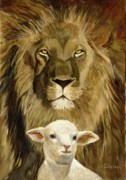Lion Lamb Posters - Peace Lion and Lamb Poster by Joyce Gibson