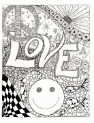Fireworks Drawings Posters - Peace Love and Happiness Poster by Paula Dickerhoff