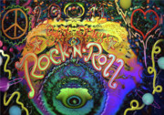 Rock N Roll Digital Art - Peace Love and Rock n Roll by Kevin Caudill