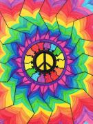 Chakra Rainbow Painting Prints - Peace Mandala Print by Cheryl Fox