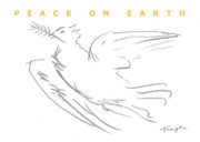 Temple Drawings - PEACE ON EARTH greeting card by James Temple