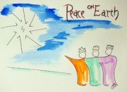 Earth Star Drawings - Peace On Earth by J R Seymour