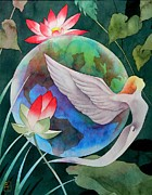 Lotus Paintings - Peace On Earth by Robert Hooper