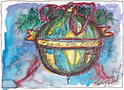 Christmas Notecard Originals - Peace On Earth Watercolor by Michele Hollister - for Nancy Asbell