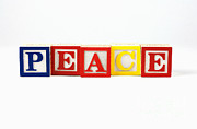 Wooden Blocks Framed Prints - Peace Framed Print by Photo Researchers, Inc.